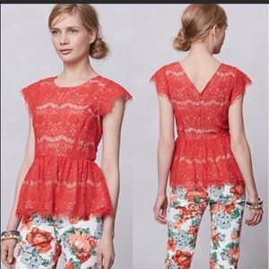 Maeve Anthropologie red lace peplum top